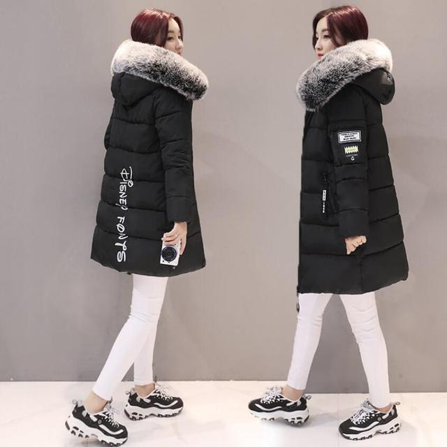 2018 women hooded warm coat winter jackets Big fur collar hats long parka cotton padded jacket female womens wadded plus size 2