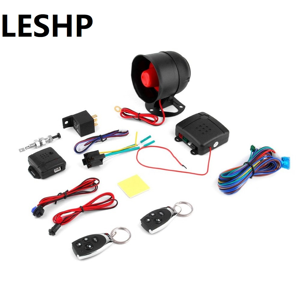 LESHP Universal 1-Way Car Alarm Vehicle System Protection Security System Keyless Entry Siren + 2 Remote Control Burglar car alarm system keyless anti theft car system pke car alarm system smart remote control for toyota