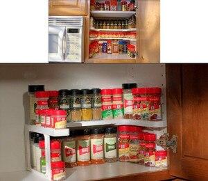 Image 4 - Soporte de almacenamiento ajustable para el hogar, estante de cocina multifuncional, organizador de almacenamiento apilable, novedad de 2019