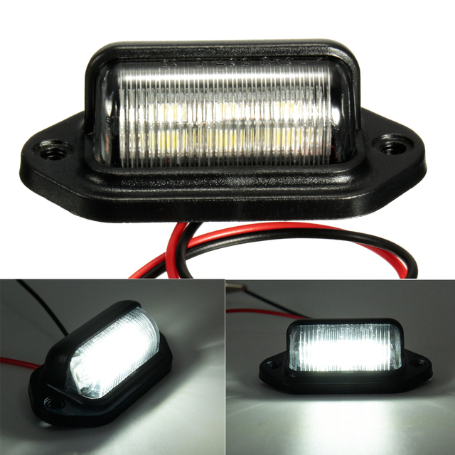 6LEDs Number Plate Light License Plate Light Lamp Bulbs for Boats Motorcycle Automotive Aircraft RV Truck Trailer 12V