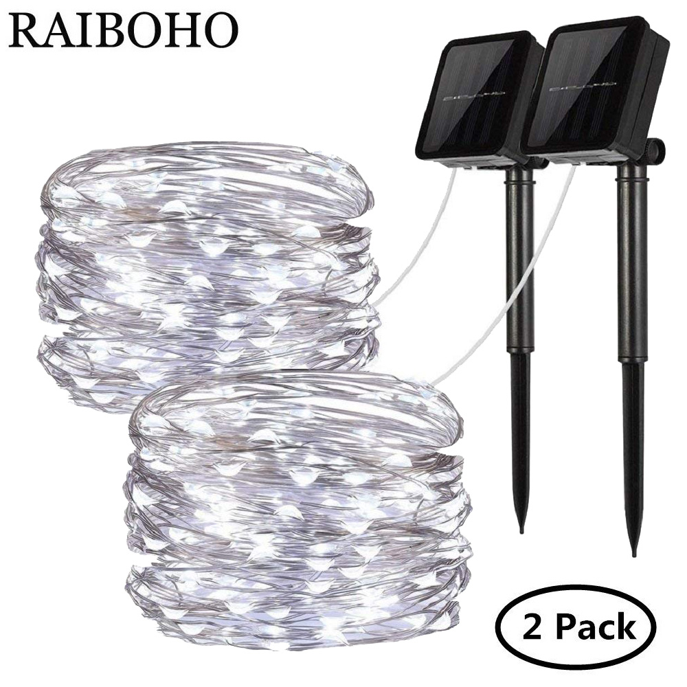 2Pack 100 LED Solar Fairy Lights 8 Modes Copper Wire Lights Waterproof Outdoor String Lights For Garden Patio Gate Yard Party