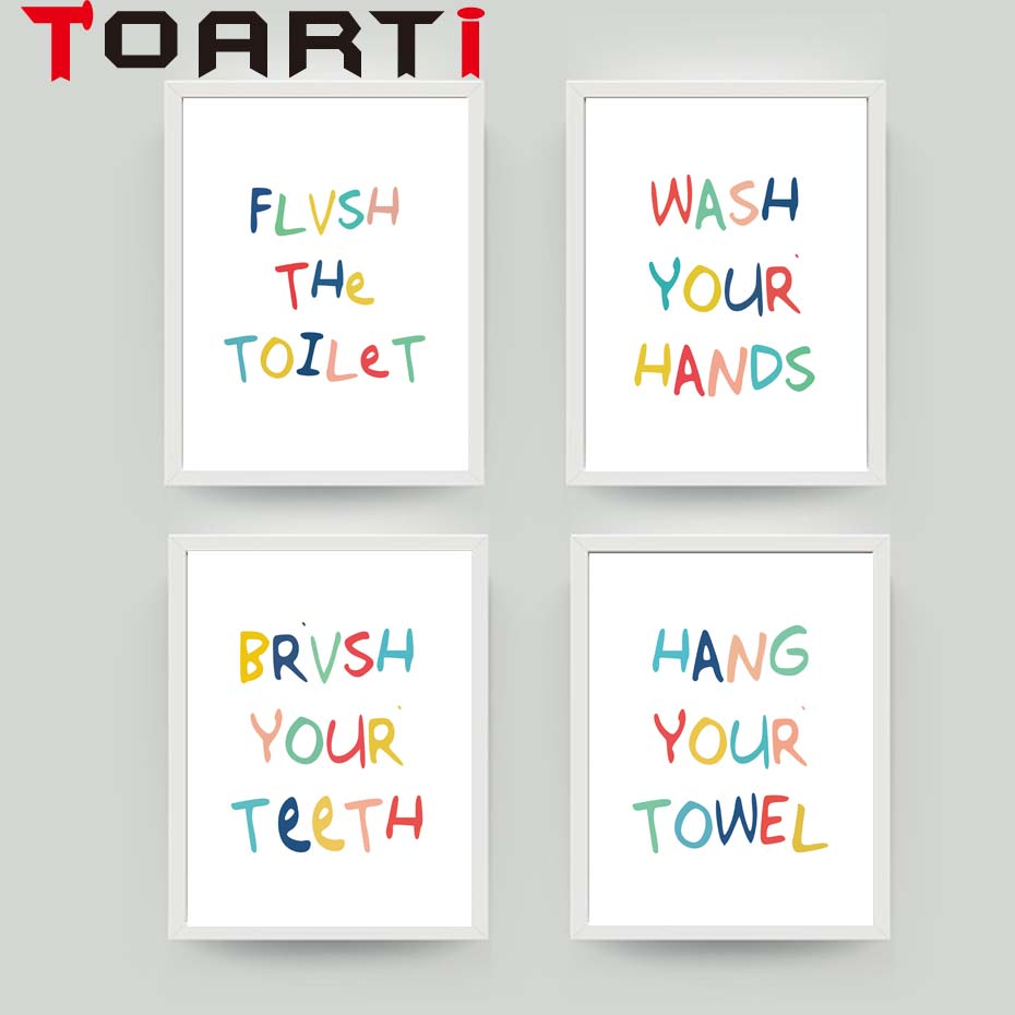Bathroom Colorful Wash Quotes Canvas Print Poster Modern Minimalism