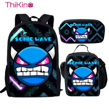 Thikin Dash Printing Cartoon 3pcs Set School Bags for Boys Kid Backpack Children Schoolbag Girls Bookbag Student Mochila