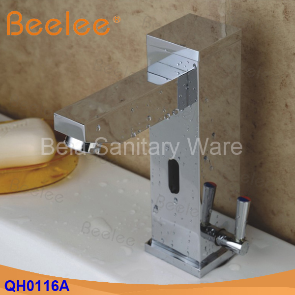 New hot and cold Solid Brass Square Bathroom Basin Water Faucet Motion Automatic Inductive Sensor Faucet Mixer Tap (QH0116A) brass automatic sensor faucets cold and hot water mixer sense faucet basin hand washer deck mounted faucet