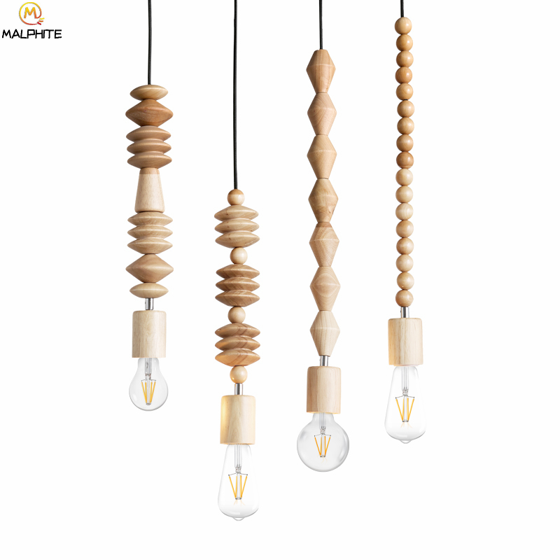 Modern Oak Wood Bead Chain Pendant Lights Retro Hanging Suspension Cord pendant Lamp Dining Room Stores Bar lighting luminaires