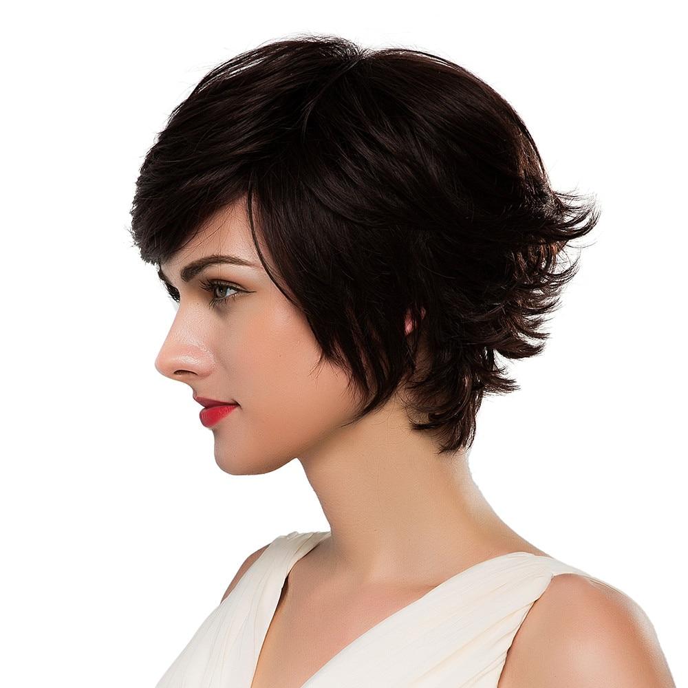 Блондинка Единорог синтетический 8 дюймов короткие волосы парик натуральный волнистые Пушистый многослойный парик с челкой для Для женщин ...