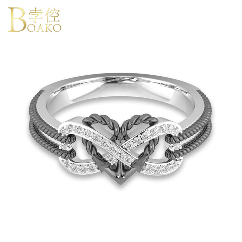 Strong-Willed 2018 Charm Heart Rings For Women Vintage Fashion Rose Gold Color Birthstone Ring Men Gray Bride Wedding Jewelry Dropshipping R4