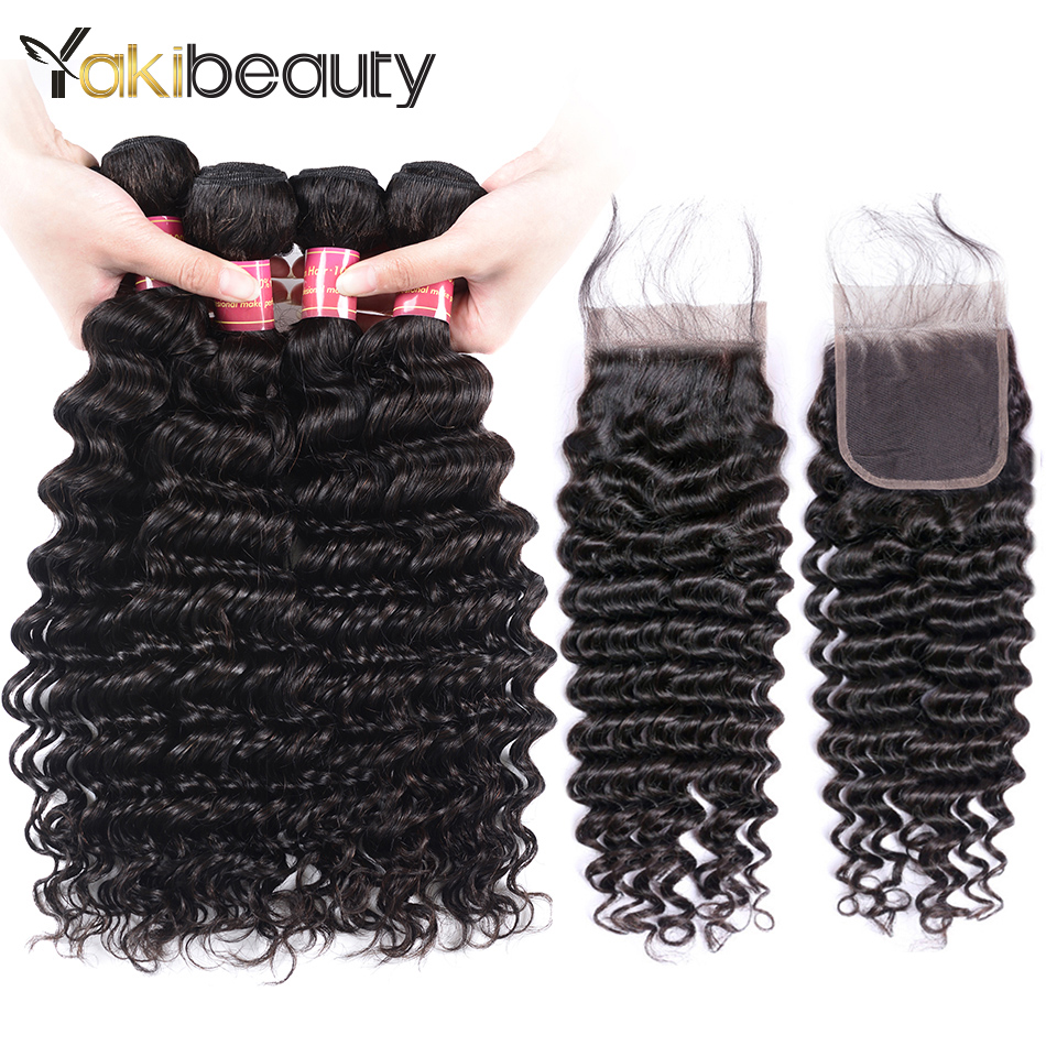 Deep Wave 4 Bundles With Closure Weaves Human Hair With Closures Free/Middle/Three Part Peruvian Hair Bundles With Lace Closure