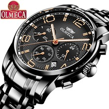 OLMECA  Military Water Resistant Watches Fashion Chronograph Wrist Watch Luminous Hands Clock Stainless Steel Relogio Masculino olmeca fashion military clock relogio masculino 3atm waterproof watches chronograph wrist watch watches for men stainless steel