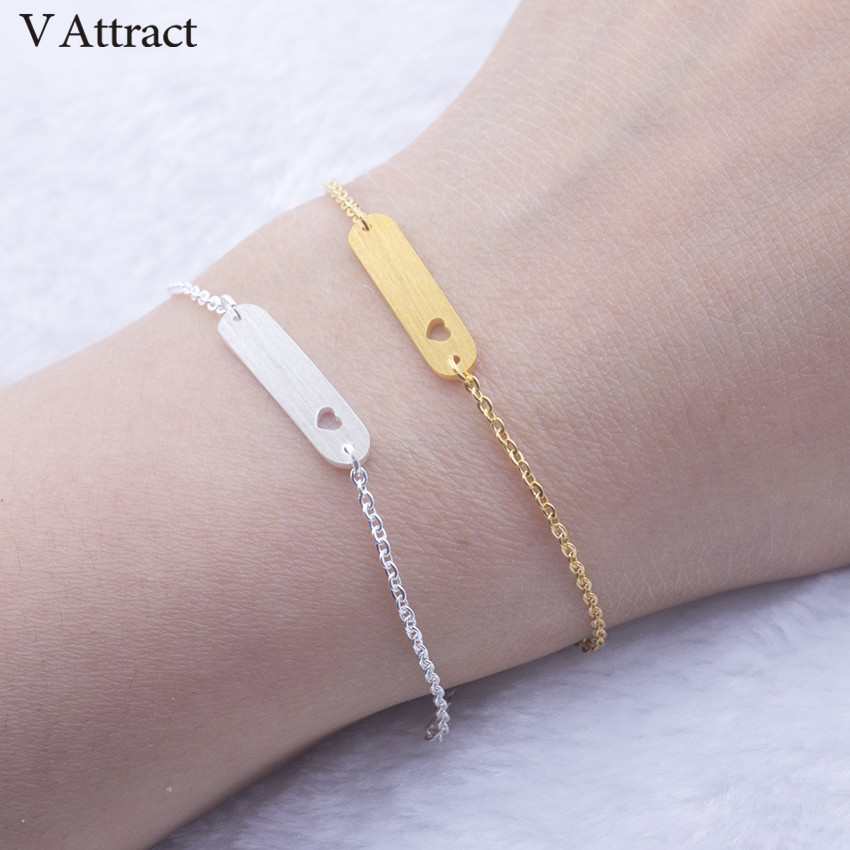 V Attract Silver Gold Filled Chain Pulseira Masculina 2018 Vintage Jewelry Tiny Heart Bar Charm Bracelet Women Friendship Gift