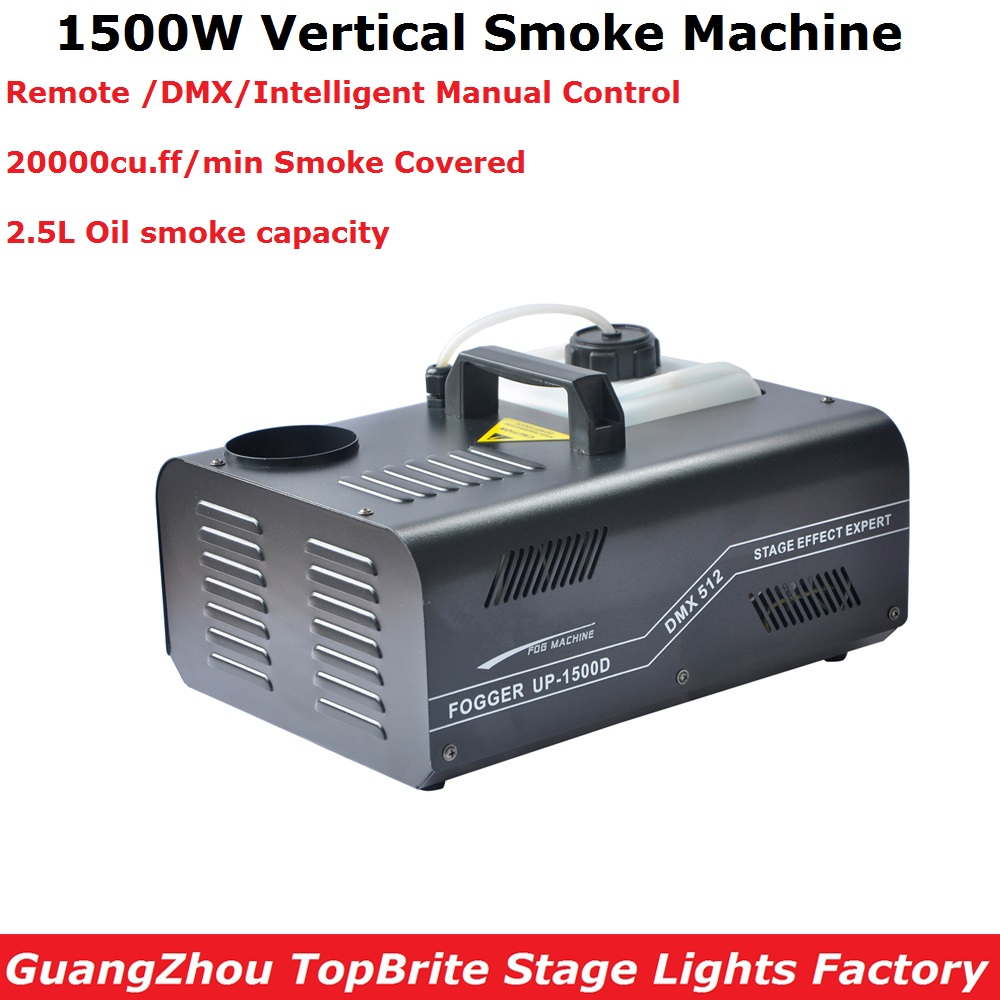 Free Shipping 1500W DMX Fog Machine Vertical Smoke Machine Professional Stage Dj Lighting Shows Equipments DMX / Remote Control