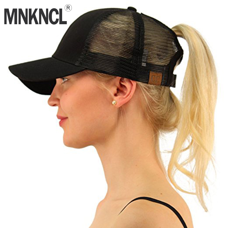 MNKNCL 2018 New C.C Ponytail Baseball Cap Women Messy Bun Baseball Hat Snapback Caps 35colors silver gold soild india scarf cap warmer ear caps yoga hedging headwrap men and women beanies multicolor fold hat 1pc