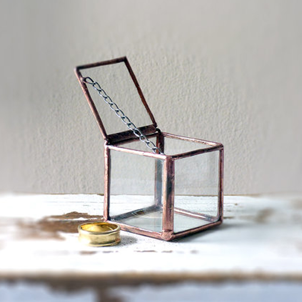 Wedding Ring Glass Box, Hinged & Liddedass Ring Box Terrarium, Ring  Bearer