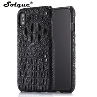 Solque Real Genuine Leather Back Cover For IPhone X Crocodile Case Luxury 3D Slim Hard Phone