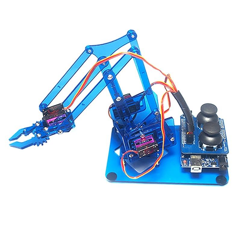 Meilleure Affaire Mearm DIY 4DOF Pour Arduino Robot Bras 4 Axe de Rotation Kit Avec Joystick Bouton Contrôleur 4 pcs Servo