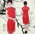 Wholesale New Style Fantastic Elegant  Red Lace Modern Midi Women Updated Cheongsam Sexy Qipao High Quality Party Dress S-XXL
