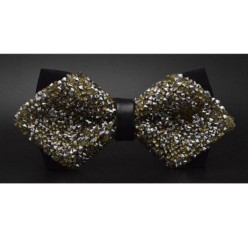 Fashion Gold Color Men Bowtie Rhinestone Collar Tie Crystal Chaton Super Flash Diamond Wedding Bow Ties Butterfly CRLJ009a07