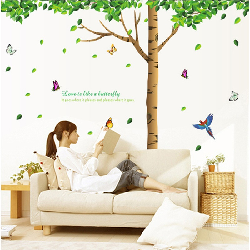 2018 New arrival decorative wall stickers giant green big tree birds removable home decor room sticker mural DIY art poster