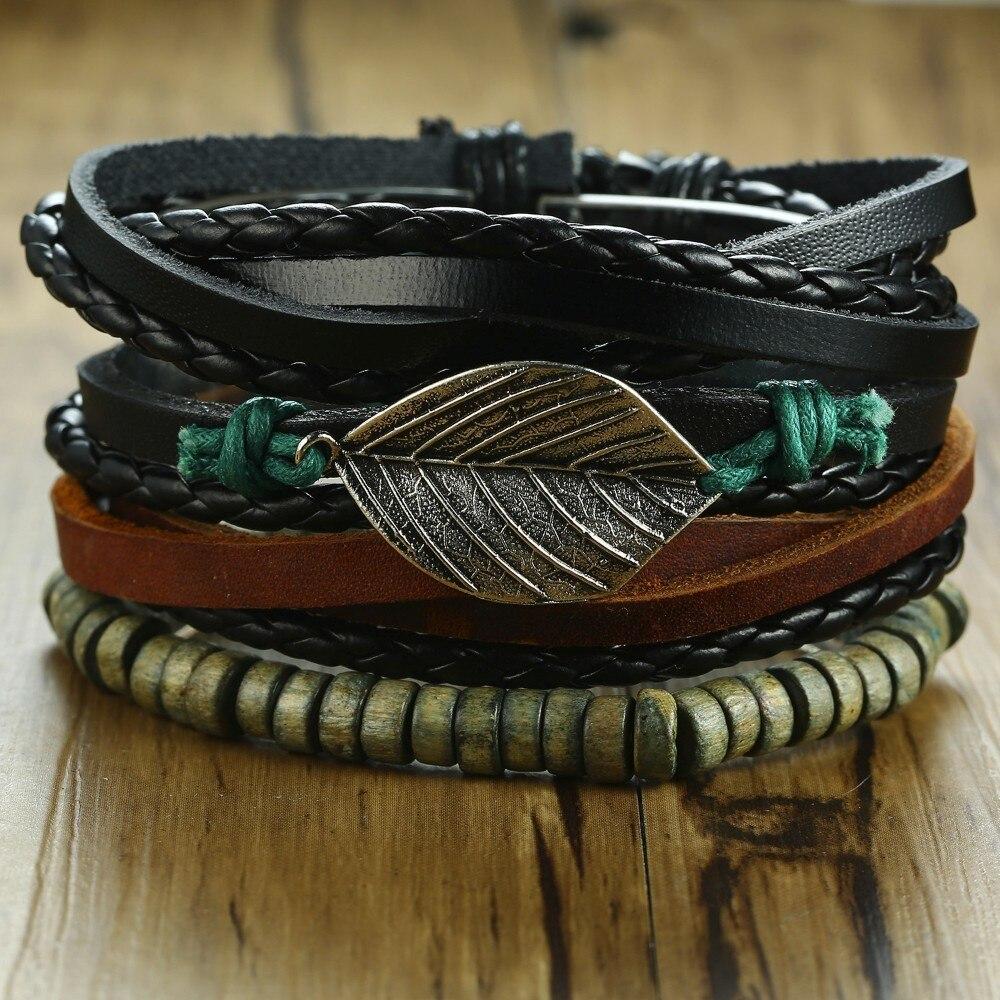 1 Set Mens Leather Vintage Multilayer Alloy Leaf Punk Bracelet with Wood Beads Adjustable Wristband for Men Jewelry