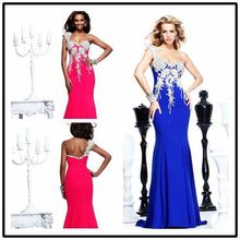 Sparkly One shoulder Royal Blue Memaid Prom Dresses Long 2019 new vestido de noiva Open Back Evening Party Gowns free shipping