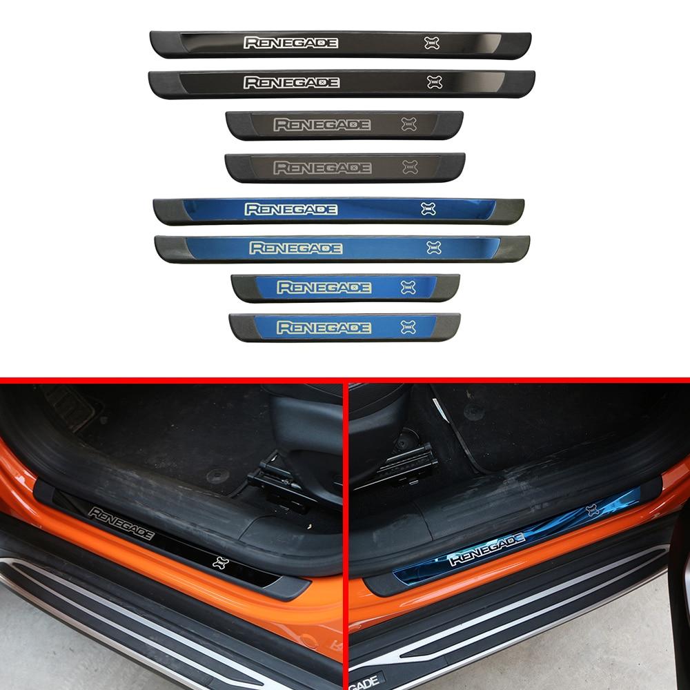 Apto para Jeep Renegade 2014-2019 cubierta de la tira de la puerta del coche decoración de acero inoxidable accesorios de pegatinas de estilo de coche