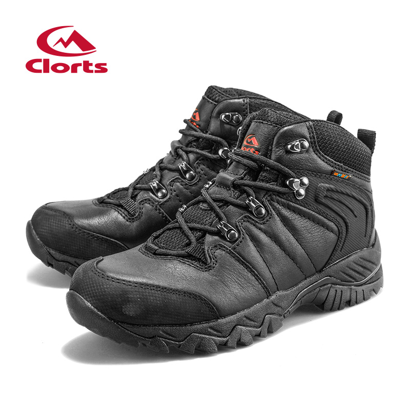 2016 Clorts Men Hiking Boots Black Hunger Game Genuine Leather Outdoor Hiking Shoes Waterproof Sport Sneakers