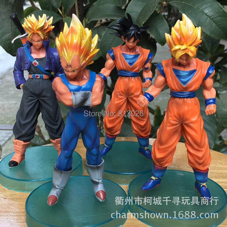4pcs/set Dragon Ball Z Super Saiyan Goku Trunks Action Figure PVC Collection figures toys for christmas gift brinquedos new hot 21cm dragon ball super saiyan 3 son goku kakarotto action figure toys doll collection christmas gift with box sy889