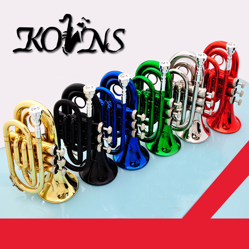 Good Quality  Professional Palm Pocket Trumpet Tone Flat B Bb Brass Wind Instrument with Mouthpiece Gloves Cloth Brush