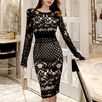 TUHAO Women Elegant Lace Dress Black Pencil Dress Summer New Fitted Korea Sheath Club Party Dress Vestidos TA2000