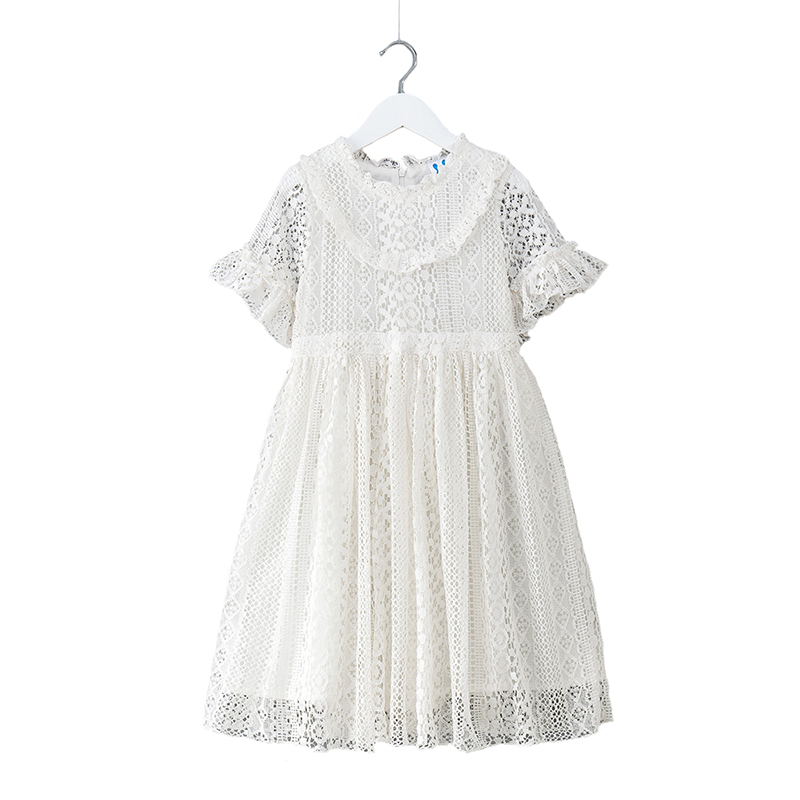 2018 Summer Baby Girls Dress Girls Lace Dresses Draped Hollow Solid A Line for Children Party Clothing 6y-14y