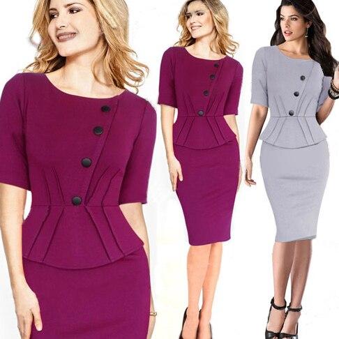 2017 Office Dresses Purple On O Neck Work Wear Elegant Spring Dress Womens Party Brand Las