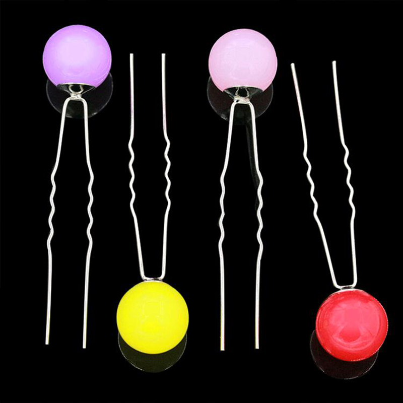 13 Candy Colors Big Ball on top Double Leg Hair Sticks Hairpins for Women Hair Jewelry