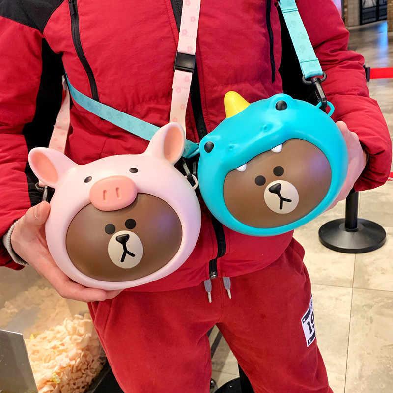 1 pc Kawaii Dos Desenhos Animados do Urso de Brown cosplay animal pig action figure de armazenamento sacos ombros bolsa Para Meninos Meninas Crianças Presentes 17*18*15 centímetros