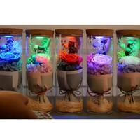 preserved fresh flower Night Lights wishing bottle Valentine's Day Glowing glass birthday present Idea Gift