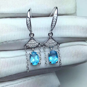 natural blue topaz drop earrings 925 silver Natural gemstone women fashion Fringed fan drop earrings jewelry for woman party