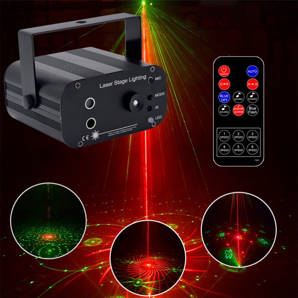 LED Music Disco Laser Lighting 48 Patterns Sound Control Stage Beam Lamp Dj Club Decoration RG Party Flash Lights