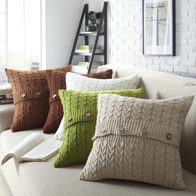 Nordic Fish Bone Cotton Knitted Decorative Pillow Cover Cable