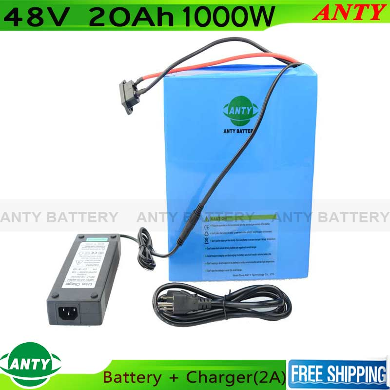 Electric Bicycle 48V 20Ah 1000W ebike Battery With 54.6V 2A Charger 30A BMS Lithium Battery Pack 48V Scooter Free Shipping free customs taxes super power 1000w 48v li ion battery pack with 30a bms 48v 15ah lithium battery pack for panasonic cell
