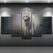 Canvas Painting Printed Pictures 5 Panel Forest Animal Wolf Game Of Thrones Ghost Home Decor Poster Wall Art Frame Living Room