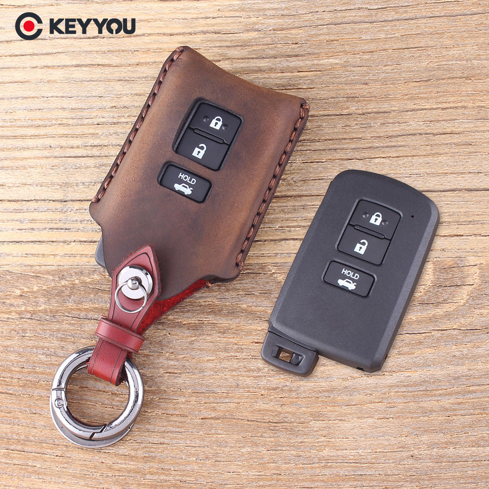 KEYYOU Genuine Leather Key Shell For Toyota Camry Corolla Avalon Rav4 Land Cruiser Car Remote Key Holder Protector 3 Button Key
