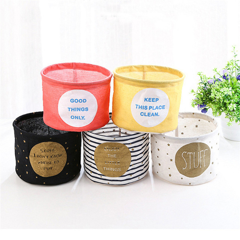 Cotton Linen Desktop Storage Basket Sundries Table Storage Home Organizer Box Basket Toys Bins Organizers for Shelves & Desks ...