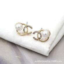 silver Korea east gate Xiao Xiang Feng pearl ear nail temperament 100 simple network celebrity earrings high-grade earrings