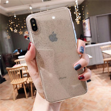 TPU Glitter Anti-Knock Case For iPhone XMAX XR Crystal Clear Cover Transparent Soft Cases 8 7 6S 7P Plus Caqas