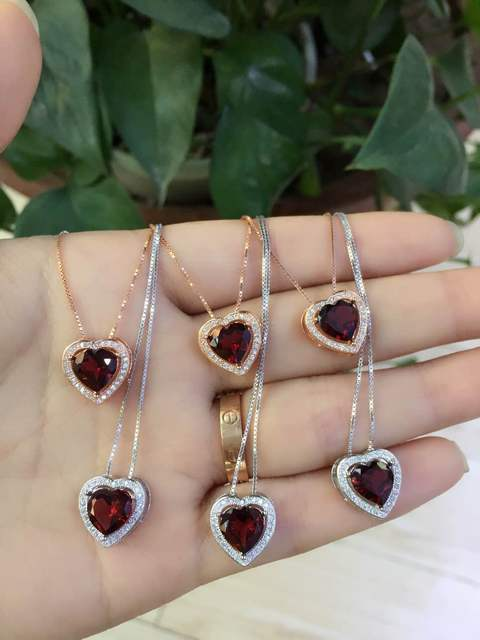 Natural red garnet stone pendant S925 silver Natural Gemstone Pendant Necklace Simple elegant heart women party fine jewelry