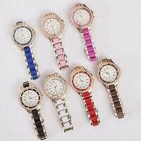 Women Stainless Steel Band Analog Quartz Roman Numerals Dial Wrist Watch