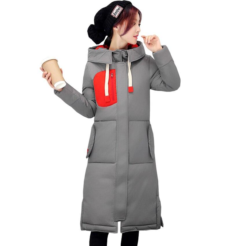 ФОТО Autumn and winter new women's long coat down jacket thickening fashion Slim Slim code printing warm cotton jacket