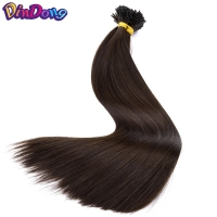 DinDong 22''Straight Synthetic Pre Bonded Fusion Hair I Tip Stick Keratin Double Drawn Heat Resistant Hair Extension 100tands/pc