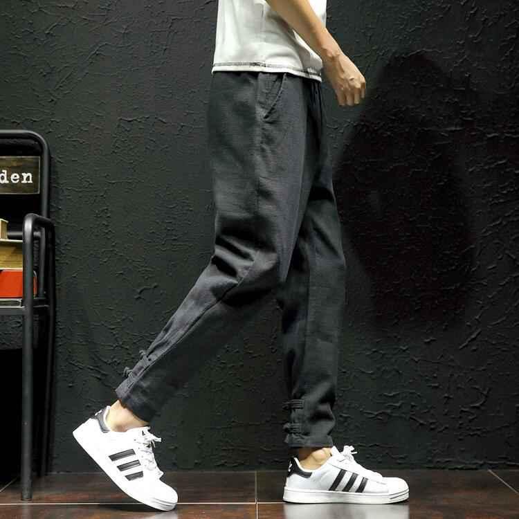ed585cc99c1  2814 2018 Men compression pants Loose Elastic waist Plus size Preppy Style  Linen cotton Joggers Pantalon hombre Hip hop pants-in Harem Pants from Men s  ...