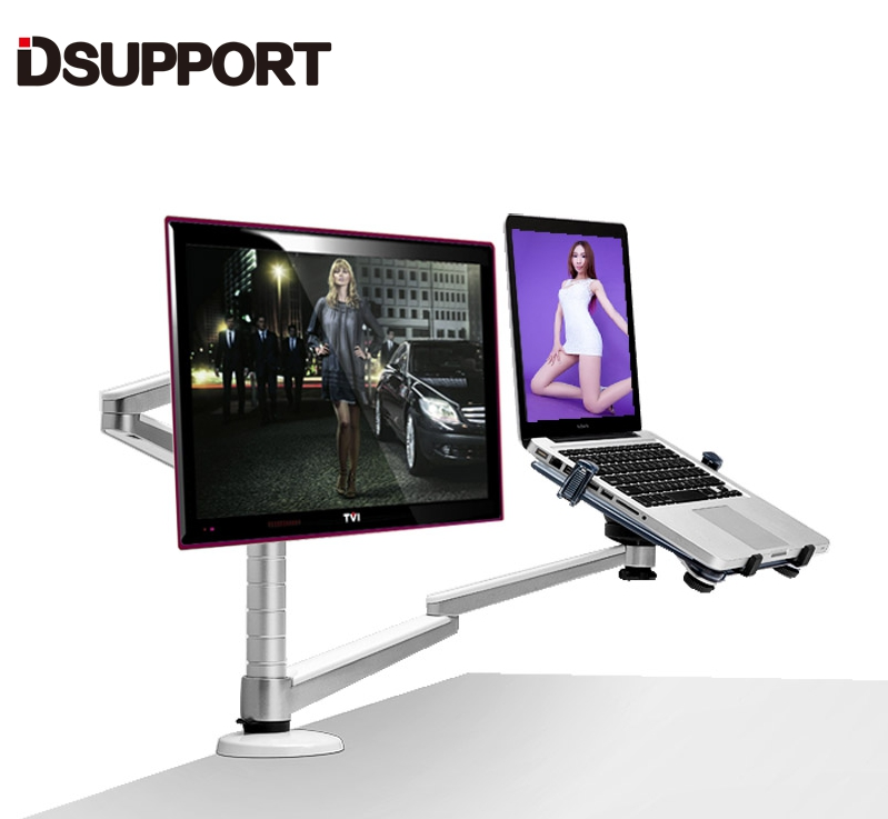OA-7X Multimedia Desktop Dual Arm 25 inch Monior Holder+ Laptop Holder Stand Table Full Motion Dual Monitor Mount Arm Stand
