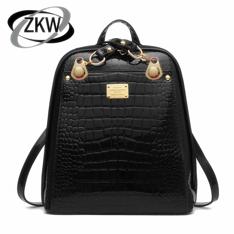 ZKW 2019 New Korean Fashion Fhoulder Bag Lychee Pattern Large Capacity Ladies Travel Backpack Female BagsZKW 2019 New Korean Fashion Fhoulder Bag Lychee Pattern Large Capacity Ladies Travel Backpack Female Bags